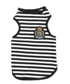 Black And White Striped Dog Tank Top Front View