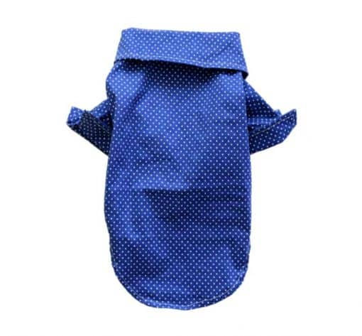 Blue Button-Up Dog Shirt With White Polka Dots Back View