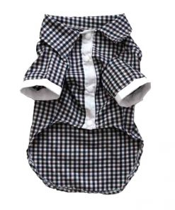Navy And White Checkered Button-Up Dog Shirt Front View