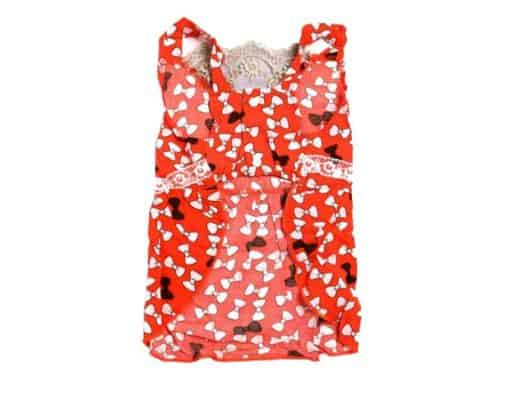 Coral Dog Dress with White and Brown Bow Pattern Back View