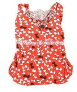 Coral Dog Dress with White and Brown Bow Pattern Front View