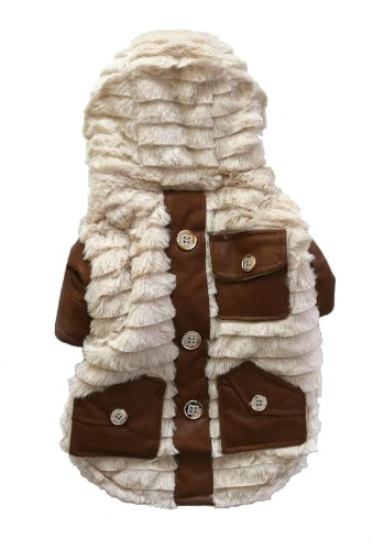 Dog Winter Coat Beige Fleece Back View