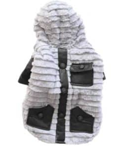 Dog Winter Coat Gray Fleece Back View