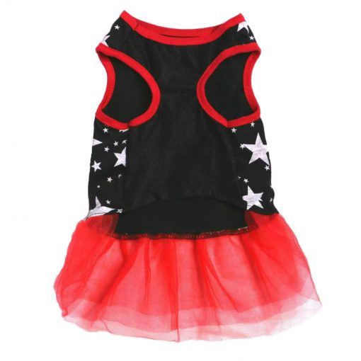 Navy And Red Dog Dress With White Star Pattern Back View