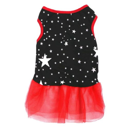 Navy And Red Dog Dress With White Star Pattern Front View