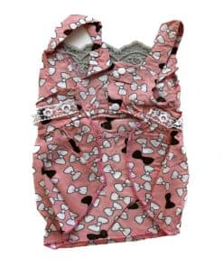 Pink Dog Dress With White and Brown Bow Pattern Back View