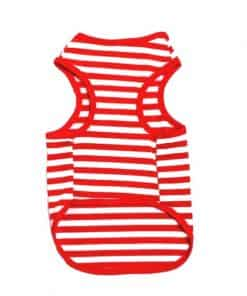 Red And White Striped Dog Tank Top Back View