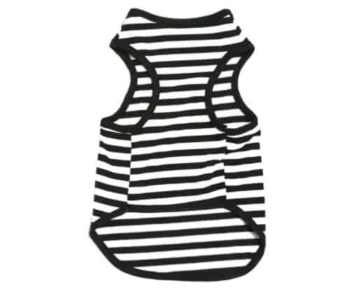 Black And White Striped Dog Tank Top Back View
