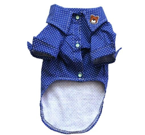 Blue Button-Up Dog Shirt With White Polka Dots Front View
