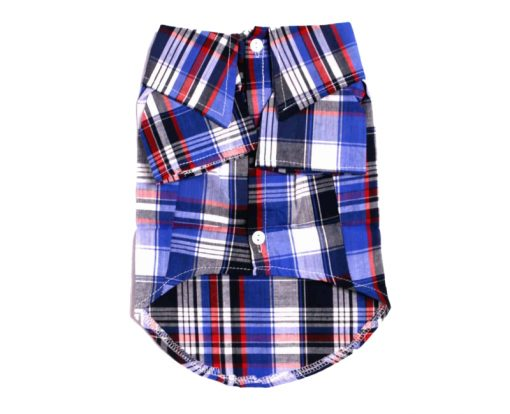 Blue Plaid Button-Up Dog Shirt Front View