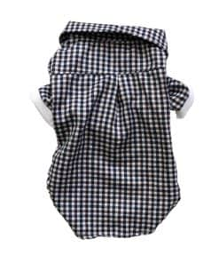 Navy And White Checkered Button-Up Dog Shirt Back View