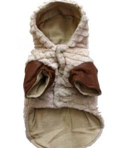 Dog Winter Coat Beige Fleece Front View