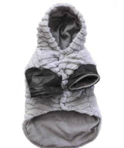 Dog Winter Coat Gray Fleece Front View