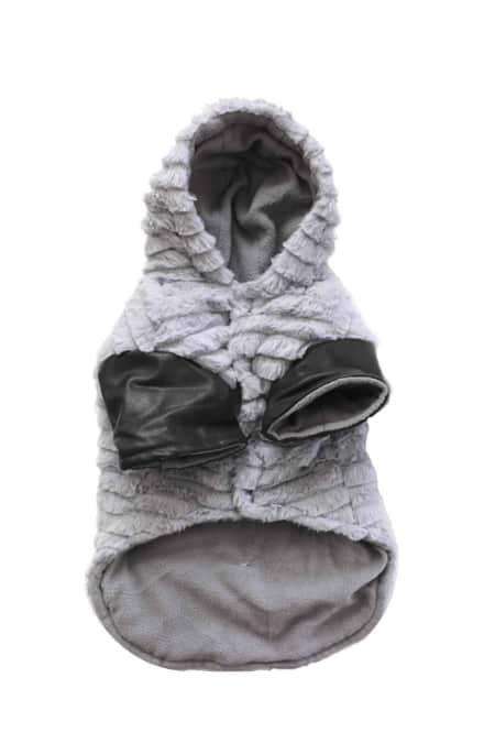 Dog Winter Coat Gray Fleece Front View