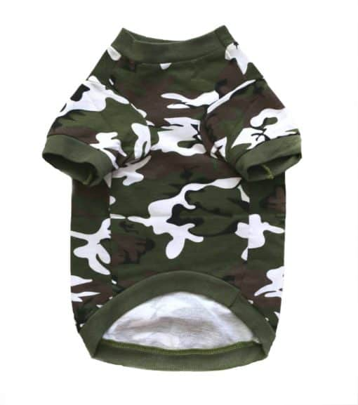 Green Camo Dog Shirt Front View