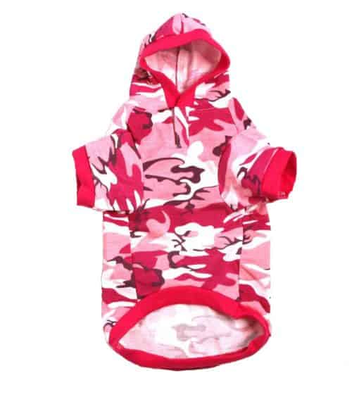 Pink Camo Dog Hoodie Front View