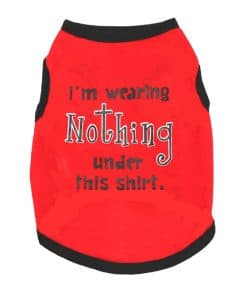 Red Dog Tank Top With I'm Wearing Nothing Under This Shirt Graphic Front View