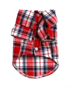 Red Plaid Dog Button-Up Shirt Front View