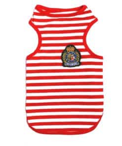 Red And White Striped Dog Tank Top Front View