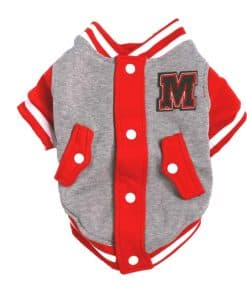 Red Gray And White Dog Varsity Jacket Front View