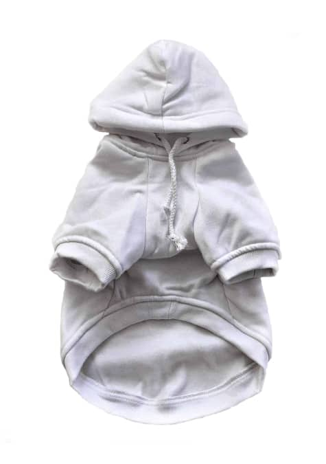White Dog Hoodie Front View