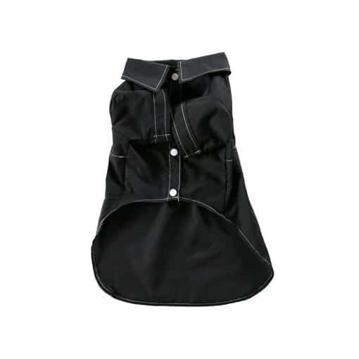 Black Gentleman Dog Button-Up Shirt Front View