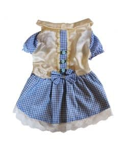 Blue Checkered Dress for Dogs Back View