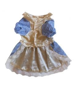 Blue Checkered Dress for Dogs Front View