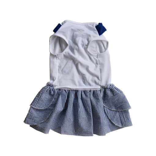 Blue Sailor Dress for Dogs Back View