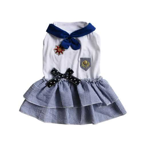 Blue Sailor Dress for Dogs Front View
