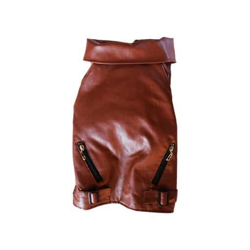 Brown Leather Jacket for Dogs Back View