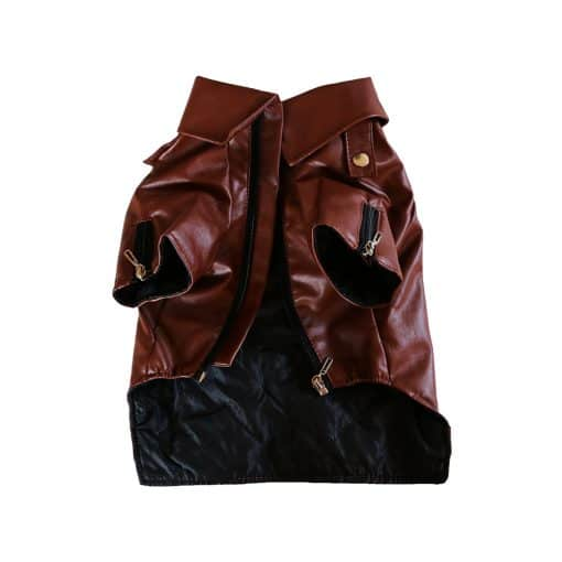 Brown Leather Jacket for Dogs Front View