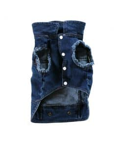 Distressed Denim Vest for Dogs Front View
