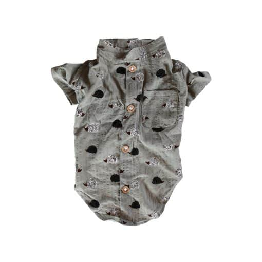 Green Porcupine Party Button-Up Shirt for Dogs Back View