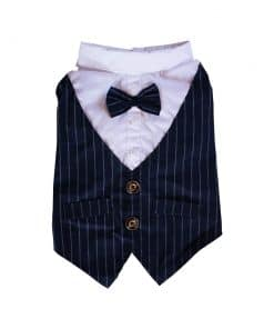 Navy Pinstripe Vest with Bowtie for Dogs Back View