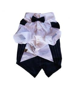 Navy Pinstripe Vest with Bowtie for Dogs Front View