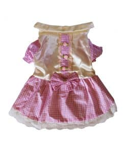 Pink Checkered Dress for Dogs Back View