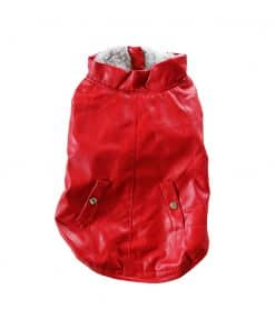 Red Leather Jacket for Dogs Back View