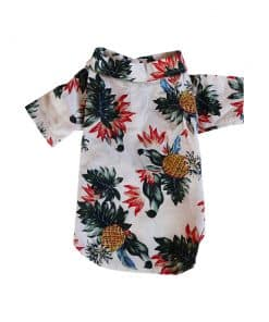 White Hawaiian Shirt for Dogs Back View