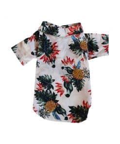 White Hawaiian Shirt for Dogs Back View