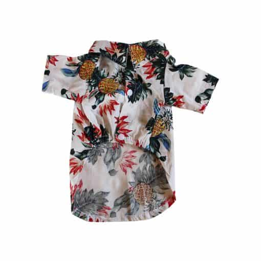 White Hawaiian Shirt for Dogs Front View